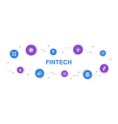 Fintech infographic 10 steps circle design vector