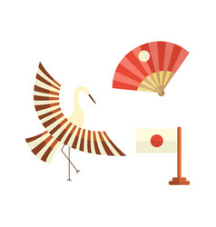 Flat cartoon japan cranes flapping wings vector