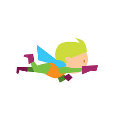 flying kid in superman costume vector image