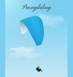 Flying paraglider with blue parachute and man vector