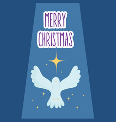 Flying pigeon star manger nativity merry vector
