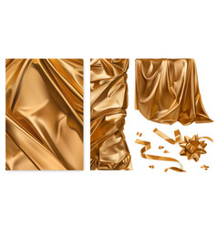 Golden cloth curtain drapery ribbon bow 3d vector