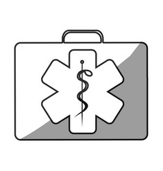 Grayscale silhouette with first aid kit with star vector