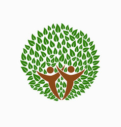 Green tree people symbol for community team help vector