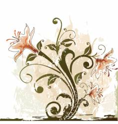 Grunge flower design vector