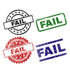 Grunge textured fail seal stamps vector