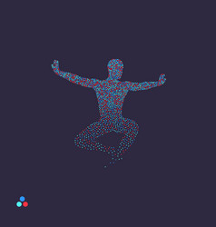 Gymnast man is posing and dancing dotted vector