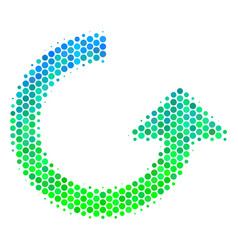 Halftone blue-green rotate icon vector