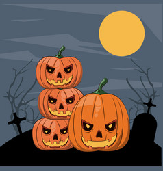 halloween scary cartoons vector image