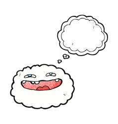 Happy cartoon cloud with thought bubble vector