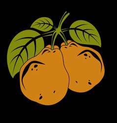 harvesting symbol fruits isolated two organic vector image