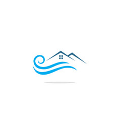 home realty water wave company logo vector image