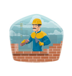 house architecture building builder worker man vector image