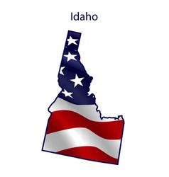 idaho full american flag waving in wind vector image