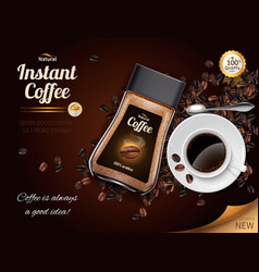 Instant coffee realistic poster vector