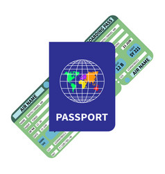 International blue passport and flight ticket vector