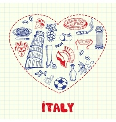 Italy Pen Drawn Doodles Collection vector