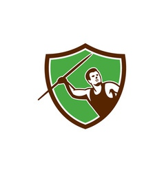 Javelin Throw Track and Field Athlete Shield vector image