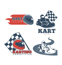 Kart club promotional emblems set with protective vector