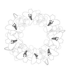 Lily and iris flower wreath outline vector