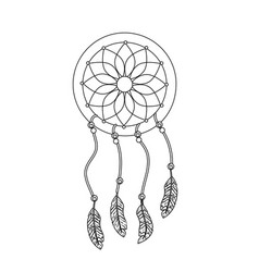 Line beauty dream catcher with feathers design vector