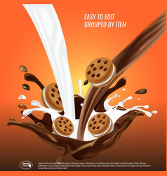 liquid chocolate and milk flow and spash mixed vector image