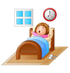 little girl waking up in a bed and yawning vector image