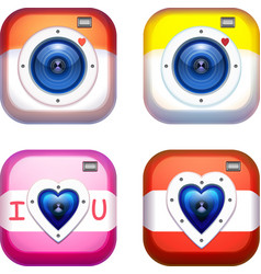 love camera icons for web and mobile applications vector image