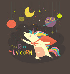 Magic cute unicorn in cartoon style vector