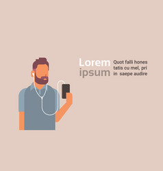 Man holding smartphone listening to music with vector
