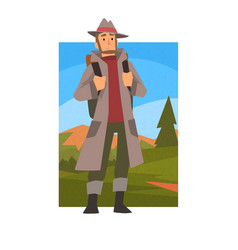 man wearing raincoat travelling with backpack vector image