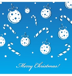 merry christmas blue greeting card with balls and vector image