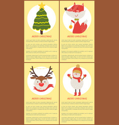 merry christmas set posters vector image