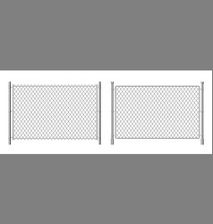 Metal wire fence realistic 3d chainlink vector