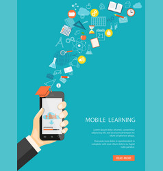 mobile learning vector image