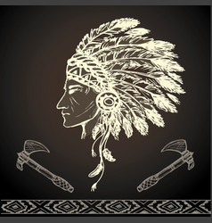 North american indian chief with tomahawk vector