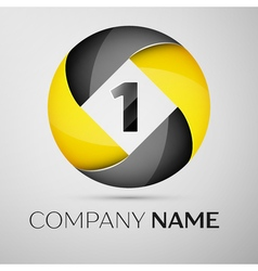 Number one logo symbol in the colorful circle vector