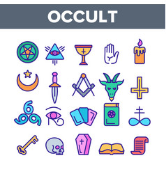 Occult demonic entity imagery linear icons vector