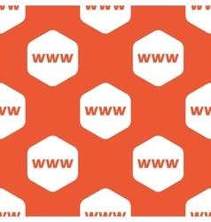 Orange hexagon WWW pattern vector image