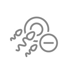 Ovum and spermatozoon with minus line icon vector