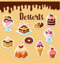 Pastry dessert cakes on waffle poster vector