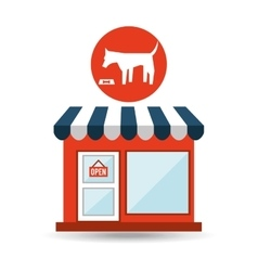pet shop with eating dog vector image
