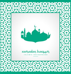 ramadan festival greeting with mosque and pattern vector image