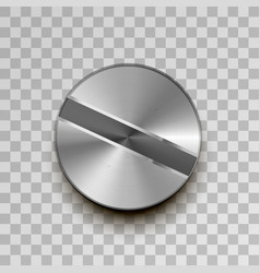 realistic metal screw on transparent background vector image