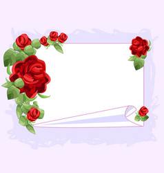 red graphic rose frame white sheet of paper vector image