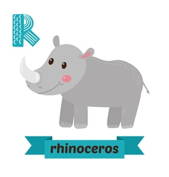 Rhinoceros R letter Cute children animal alphabet vector image