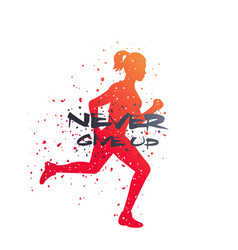 running poster never give up t-shirt print vector image