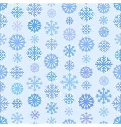 Seamless blue color pattern with snowflakes vector image