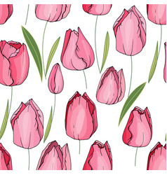 seamless floral decorative pattern with tulips vector image