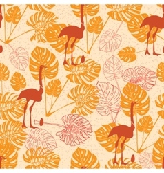 Seamless vintage pattern with ostrich and monstera vector